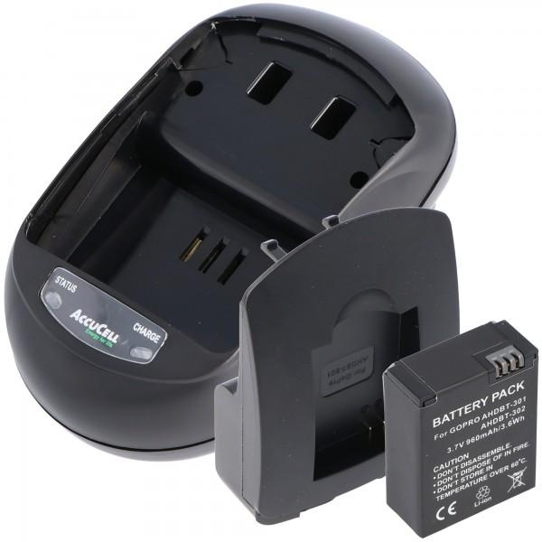 Kit de chargement et batterie de rechange pour Go Pro HD Hero 3, AHDBT-201, AHDBT-301