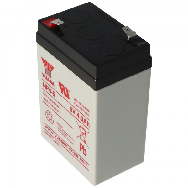 Batterie Yuasa NP4-6 PB 6 Volts 4Ah Faston 4.8mm