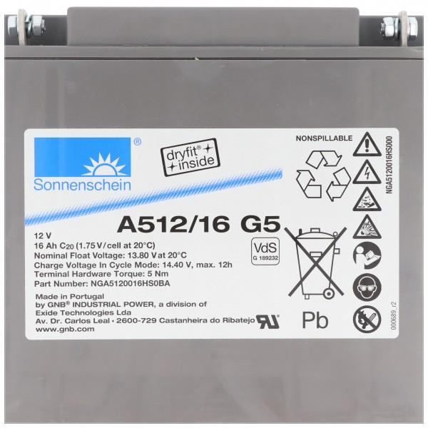 Sonnenschein Dryfit A512 / 16G5 batterie au plomb, connexion M5, VDS G1892