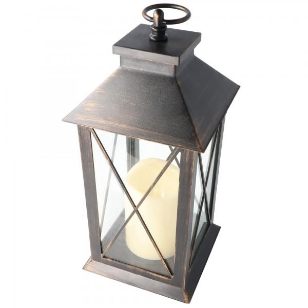 Lanterne avec bougie LED en métal, lanterne en métal avec bougie LED et piles