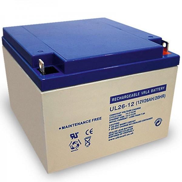 Batterie au plomb Ultracell UL26-12 12 volts avec connexion à vis 26Ah et M5