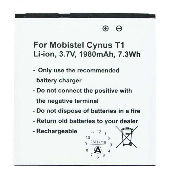 Batterie MOBISTEL Cynus T1 comme réplique de Accucell pour BTY26179, BTY26179MOBISTEL / STD