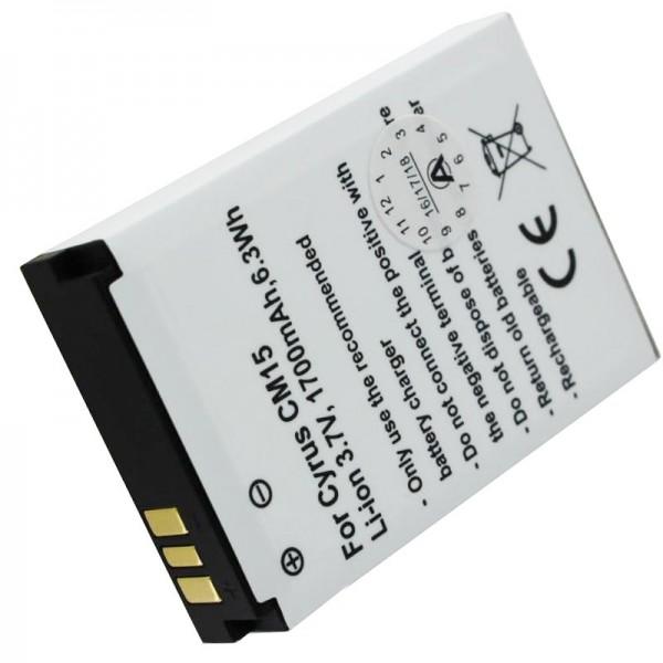 Batterie compatible avec la batterie Cyrus CM15 CYR10015, 3,7 Volt 1700mAh
