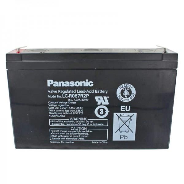 Batterie au plomb Panasonic LC-R067R2P PB 6 Volt, 7.2Ah avec contacts à fiche Faston 4.8mm