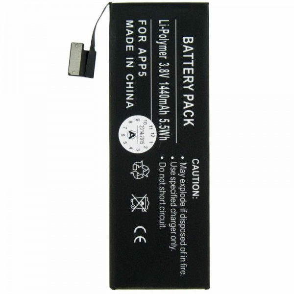 Batterie pour Apple iPhone 5 Li-Polymer batterie 1440mAh sans outil d'installation