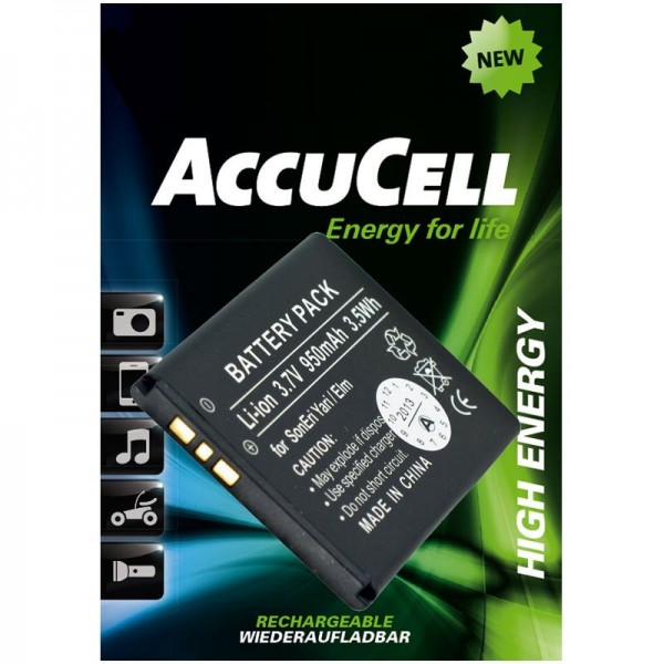 AccuCell batterie compatible avec Sony Ericsson Yari, batterie BST-43