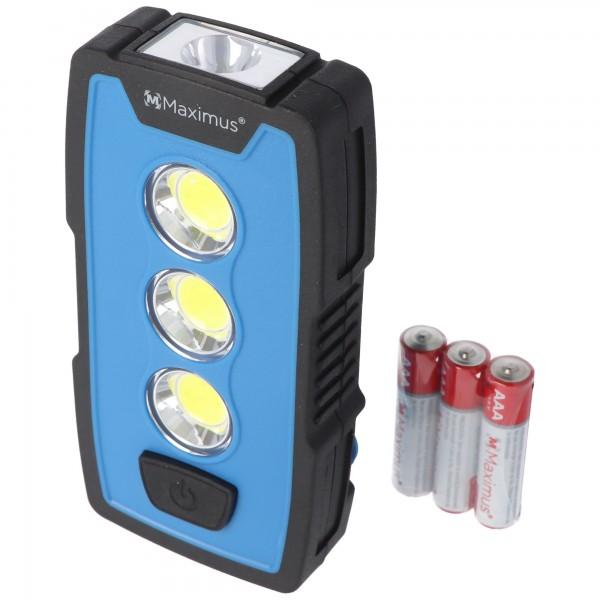 Lampe de travail LED 3 watts M-WKL-006BBL, lampe multifonction, lampe de poche, 230 lumens, avec crochet, aimant et clip ceinture, y compris 3 piles AAA