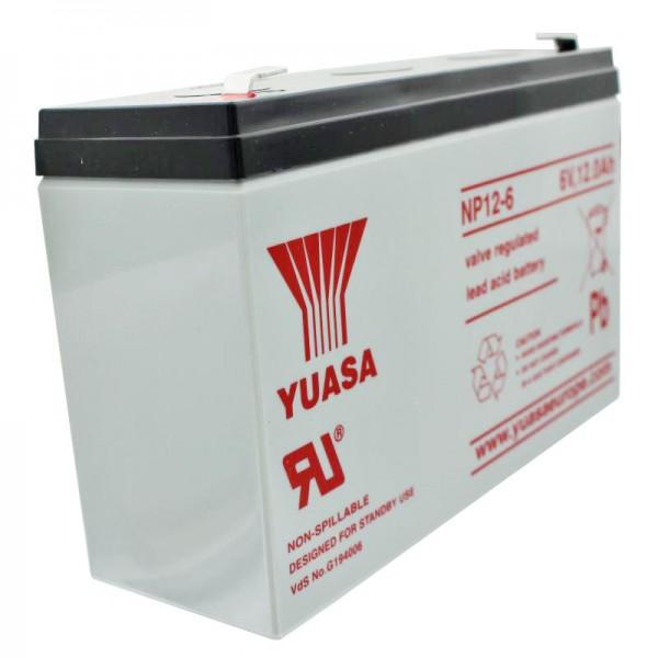 YUASA NP12-6 Fil de batterie PB 6 Volt 12Ah avec contact à fiche Faston 6.3mm large