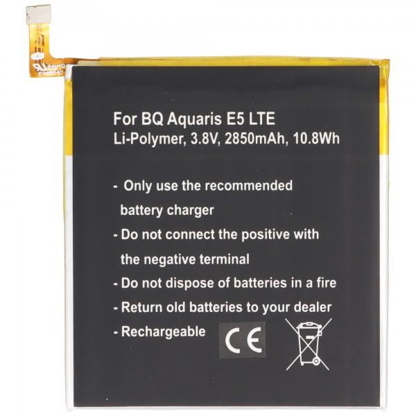 Batterie pour BQ Aquaris 0759, 0760, 0858, Aquaris E5 4G, Aquaris E5 LTE, Aquaris E5.0 Li-Polymer 3,8 Volt 2850mAh