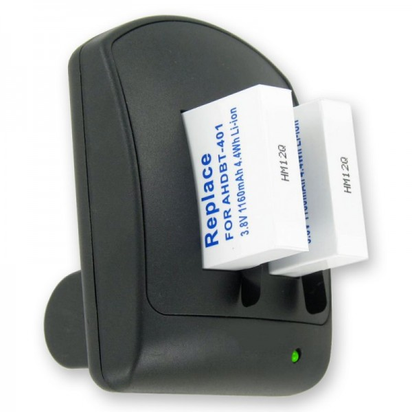 Chargeur double pour batterie GoPro Hero 4 AHDBT-401 avec 2 piles