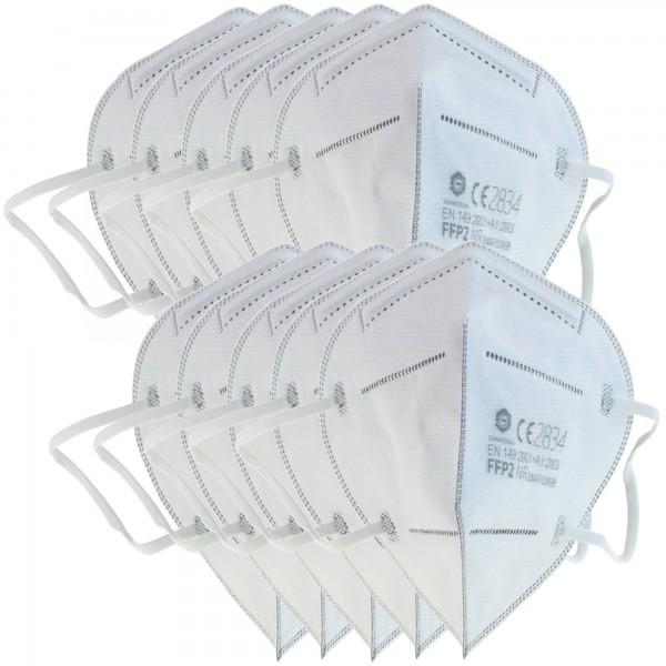 Masque de protection FFP2 10 pièces 5 couches sans valve, ration hebdomadaire, certifié selon DIN EN149: 2001 + A1: 2009, demi-masque filtrant les particules