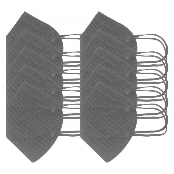 10 pièces masque FFP2 gris 5 couches, certifié selon DIN EN149: 2001 + A1: 2009, demi-masque filtrant les particules, masque de protection FFP2