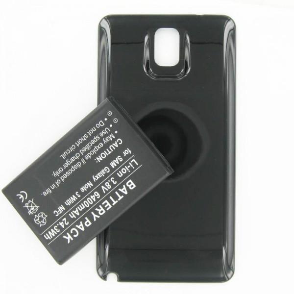 Batterie de remplacement 6400mAh pour Samsung Galaxy Note 3, B800BE, B800BU avec étui noir et NFC