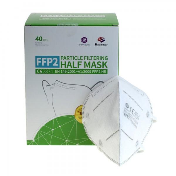Masque de protection FFP2 40 pièces 5 plis sans valve, pack mensuel, certifié selon DIN EN149: 2001 + A1: 2009, demi-masque filtrant les particules