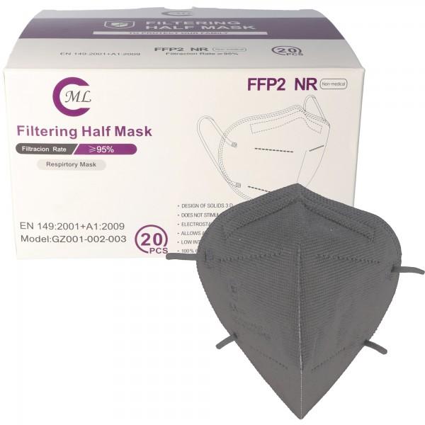 20 pièces masque FFP2 gris 5 couches, certifié selon DIN EN149: 2001 + A1: 2009, demi-masque filtrant les particules, masque de protection FFP2