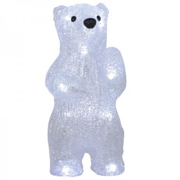 Crystal Bear 20cm avec illumination 12x LED blanche, piles incluses