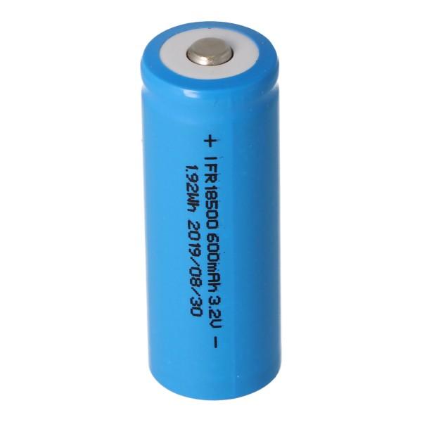 IFR 18500 - Batterie LiFePo4 600mAh 3.2V (bouton en haut) non protégée