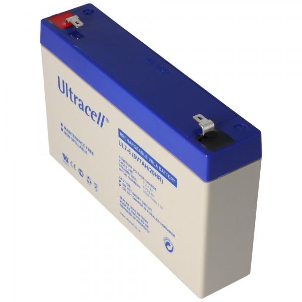Batterie au plomb Ultracell UL7-6 6 volts 7Ah avec contacts Faston 4.8mm