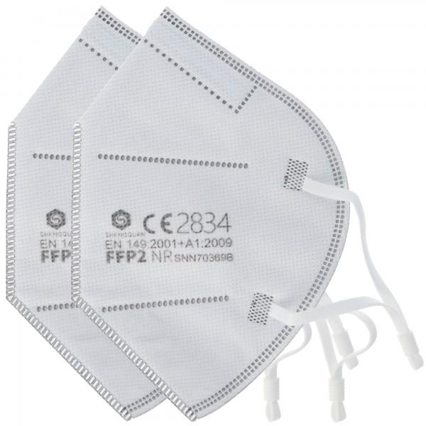 Masque de protection FFP2 2 pièces 5 couches sans valve, certifié selon DIN EN149: 2001 + A1: 2009, demi-masque filtrant les particules