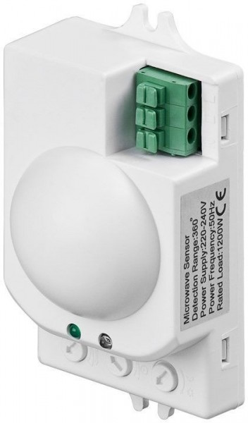 Détecteur de mouvement à micro-ondes Goobay - encastré; Détection à 360 °, plage de 8 m, pour une utilisation en intérieur (IP20), adapté aux LED