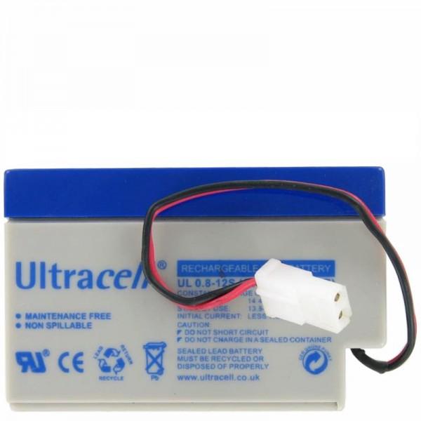 UL0.8-12 Batterie rechargeable au plomb Ultracell 12 volts 0.8 Ah avec câble et fiche AMP (assurez-vous de bien comparer les fiches avec les vôtres)