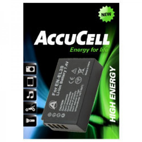 Batterie AccuCell compatible avec batterie EN-EL20, batterie Nikon 1 J1