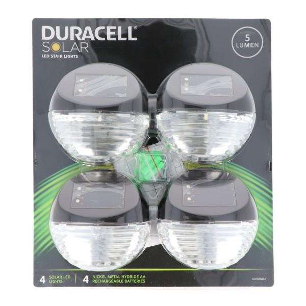 Luminaire d'escalier LED Duracell Solar GLl038GDU en tant que luminaire d'escalier LED, composé de 4 pièces, comprenant piles remplaçables, bronze métallisé
