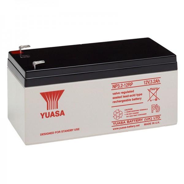 Batterie au plomb YUASA NP3.2-12 12 Volts, 3200mAh avec contacts à fiche Faston 4.8mm