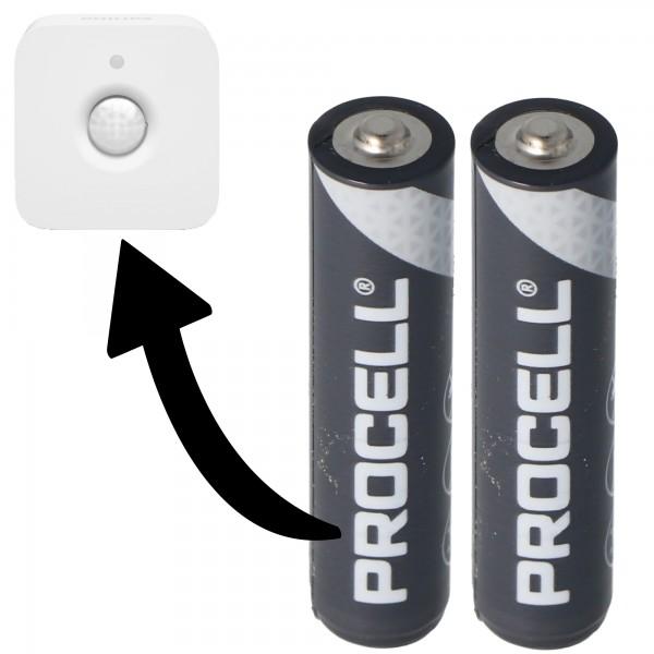 Batterie adaptée pour Philips HUE Motion Indoor Sensor 2x Duracell Procell Alkaline LR03 Micro AAA