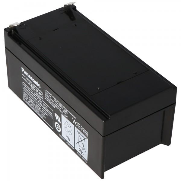 Batterie Panasonic LC-R123R4PG 12 V 3,4Ah avec port Faston F1, contacts à fiche 4,8 mm