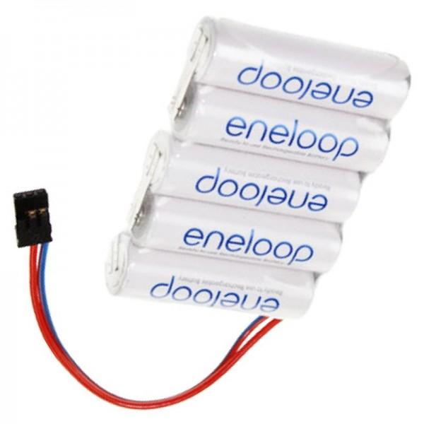 Batterie d'alimentation 6 Volt 1900mAh 72 x 14,5 x 50mm avec prise Graupner