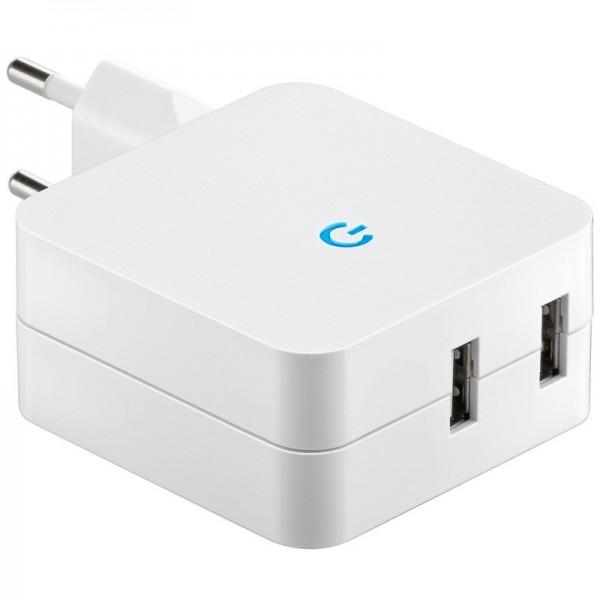 Adaptateur de charge USB de prise 230 Volt à USB, 2x sortie USB max. Sortie 4.2A
