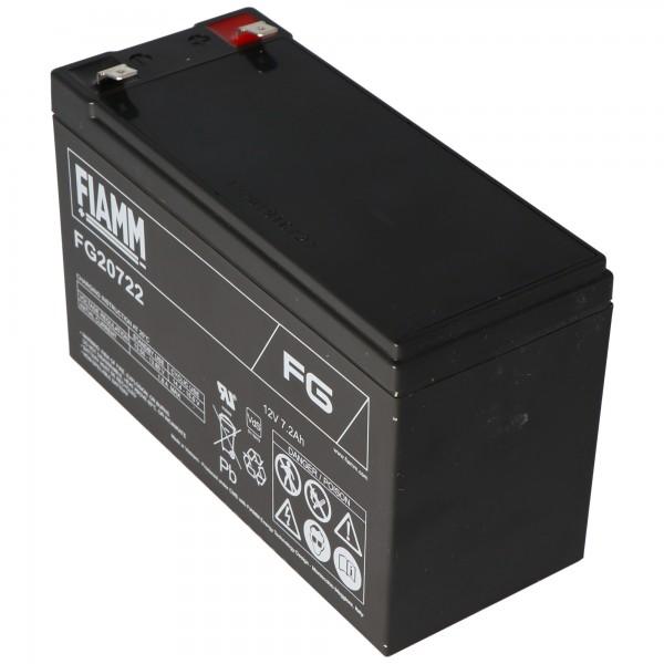 Fiamm FG20722 Batterie 12 Volt, 7.2Ah avec contacts à fiche de 6,3 mm