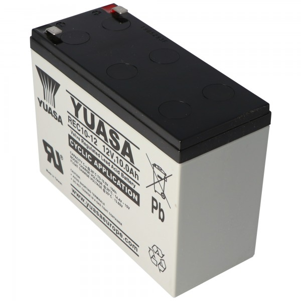Yuasa batterie plomb REC10-12 avec 12 volts et 10 Ah, contacts Faston de 6,3 mm