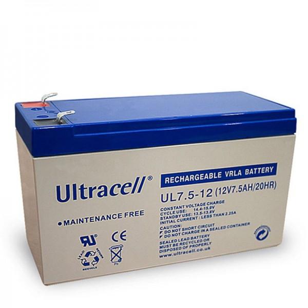 Batterie au plomb Ultracell UL7.5-12 12 volts avec contacts de 7,5 Ah et 4,8 mm