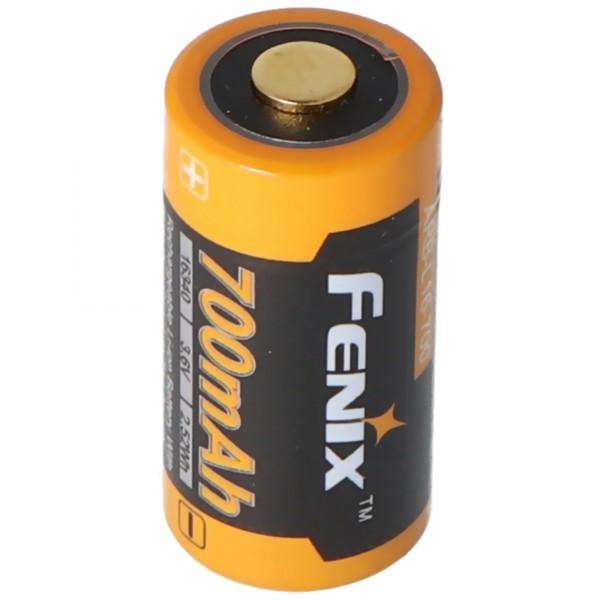 CR123 Une batterie Li-ion 16340 avec 3,7 volts, 700 mAh minimum, généralement 760 mAh, max. 820mAh, capacité 35x16mm avec boîte de transport Batterie-Boutique.fr
