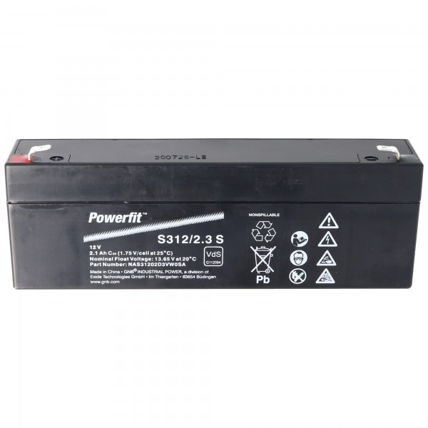 Batterie Exide Powerfit S312 / 2.3S 12 Volts avec 2100mAh