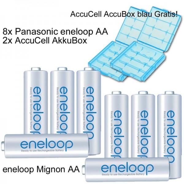 Pack de 8 piles Eneloop Pile Mignon AA rechargeable avec boîte à piles bleue - Dernière version