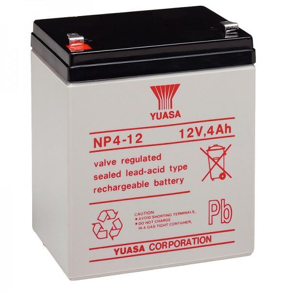 NP4-12 Batterie au plomb Yuasa NP4-12 avec contact Faston 4,8 mm et 4 Ah, 4,8 mm