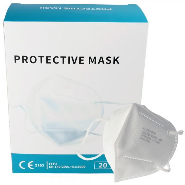 20 pièces Masque de protection FFP2 Premium 7 couches sans valve, pack de fournitures, certifié selon DIN EN149: 2001 + A1: 2009, demi-masque filtrant les particules